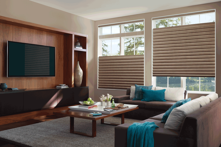 living room with top down motorized shades for light control Fort Myers 33908