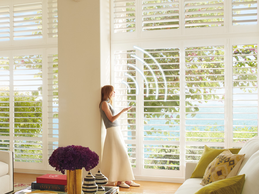 living room with smart shutters