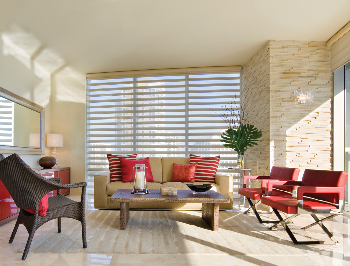 PowerView motorized shades in living room design for scheduled control Naples 34119
