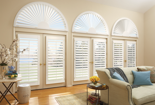living room custom plantation shutters with arches Naples 34119