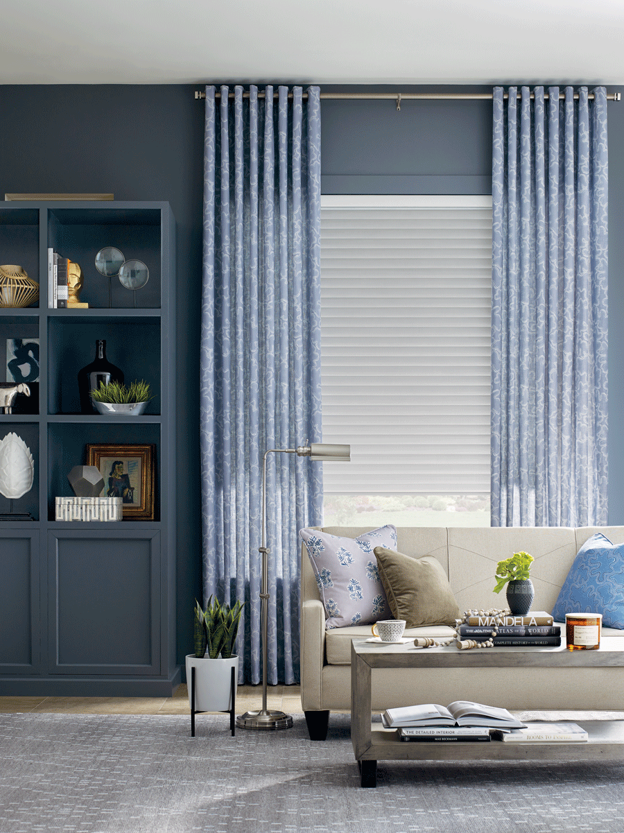 blue light filtering draperies and white window shades Fort Myers FL