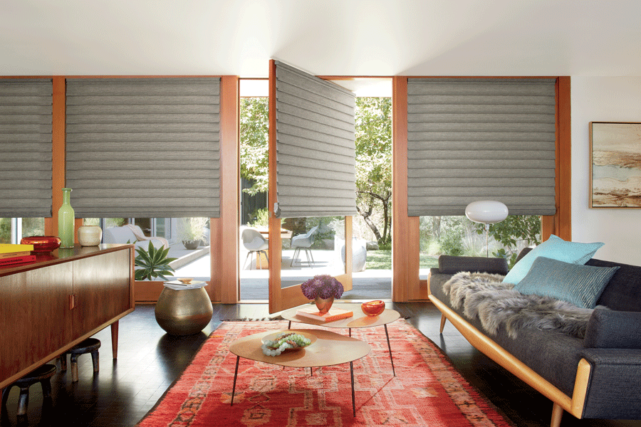 modern roman shades on a rotating door fort myers FL