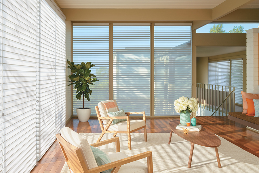 sheer shades allow view of landscape with floor to ceiling windows