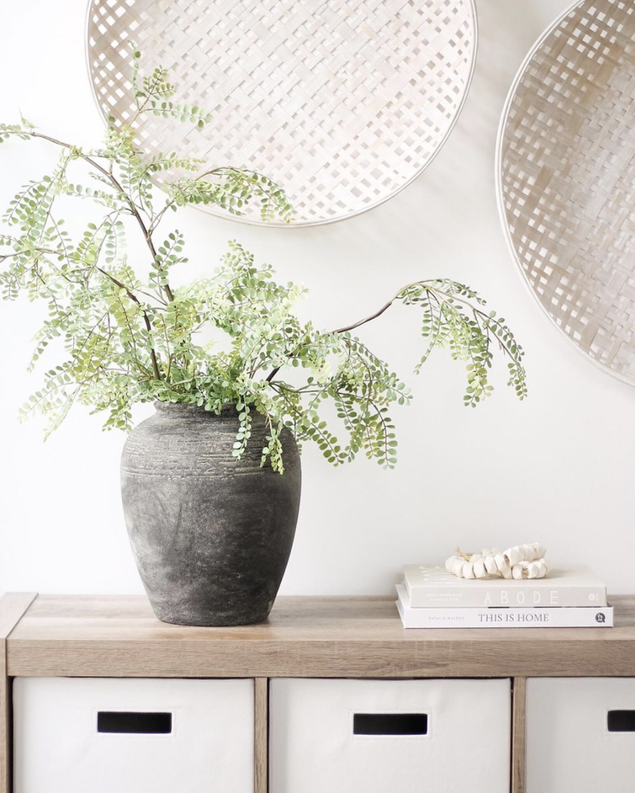 soft neutral home decor with plants