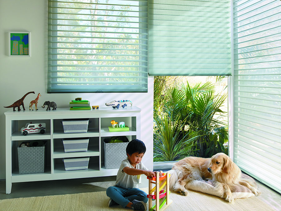 Increased safety measures in playroom with cordless shades.