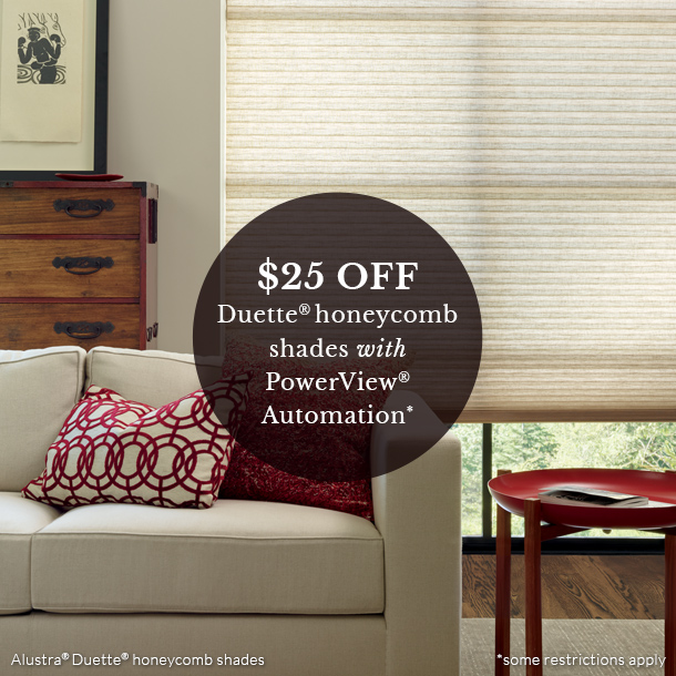 at home blinds hunter douglas duette honeycomb automation shades on sale