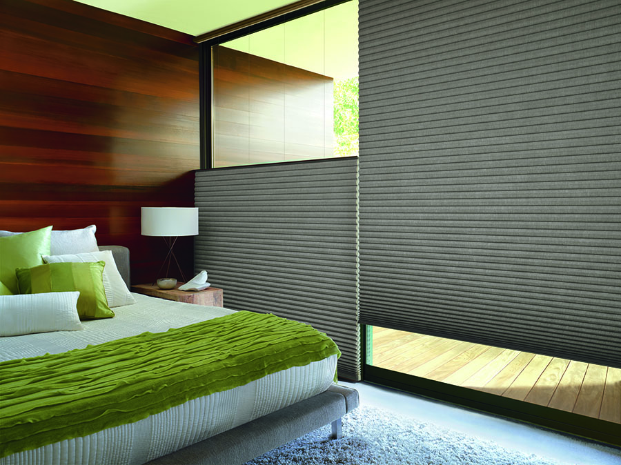 Top down bottom up shades in bedroom adds privacy and safety.