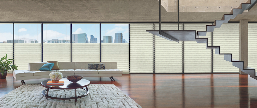 living room city view modern automated shades