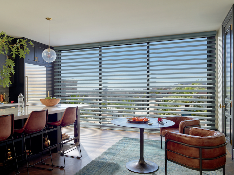 Wall to wall windows covered with the Pirouette shades.