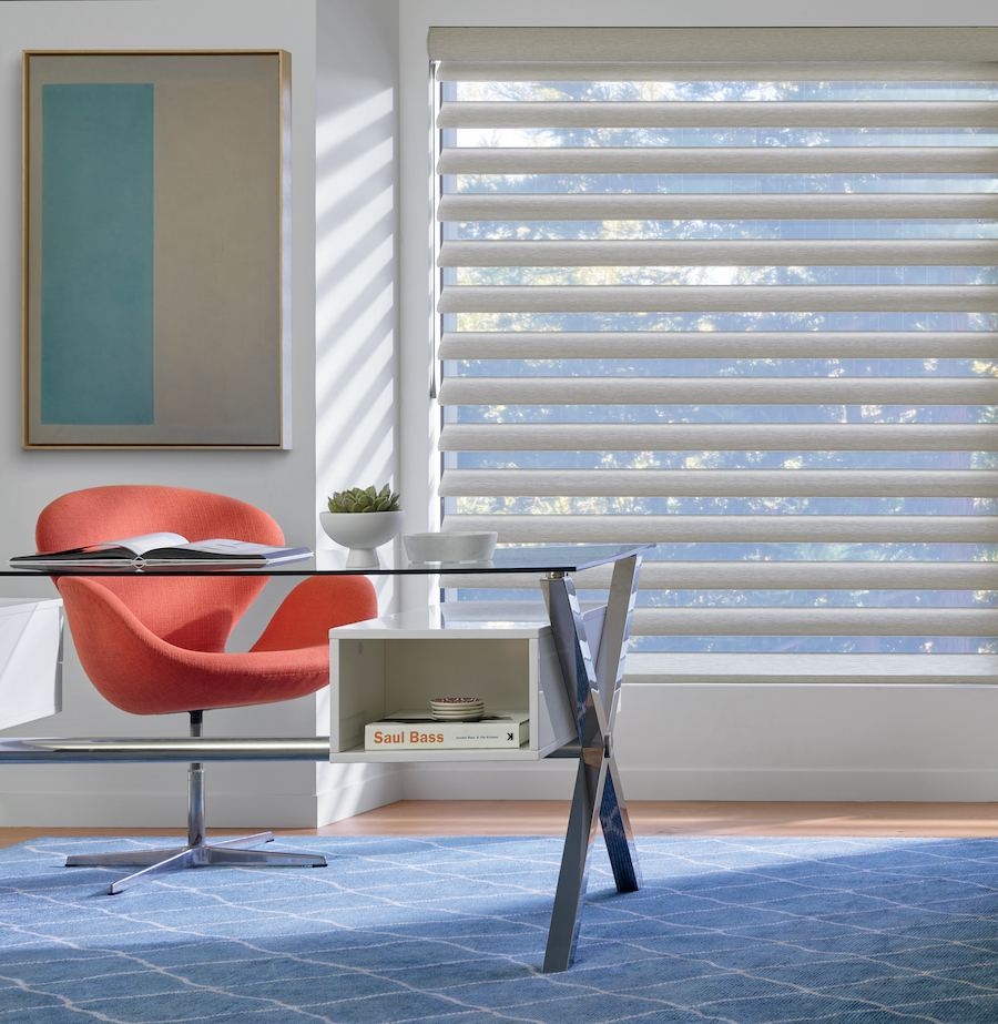 Sheer shades in home office, Fort Myers, FL.