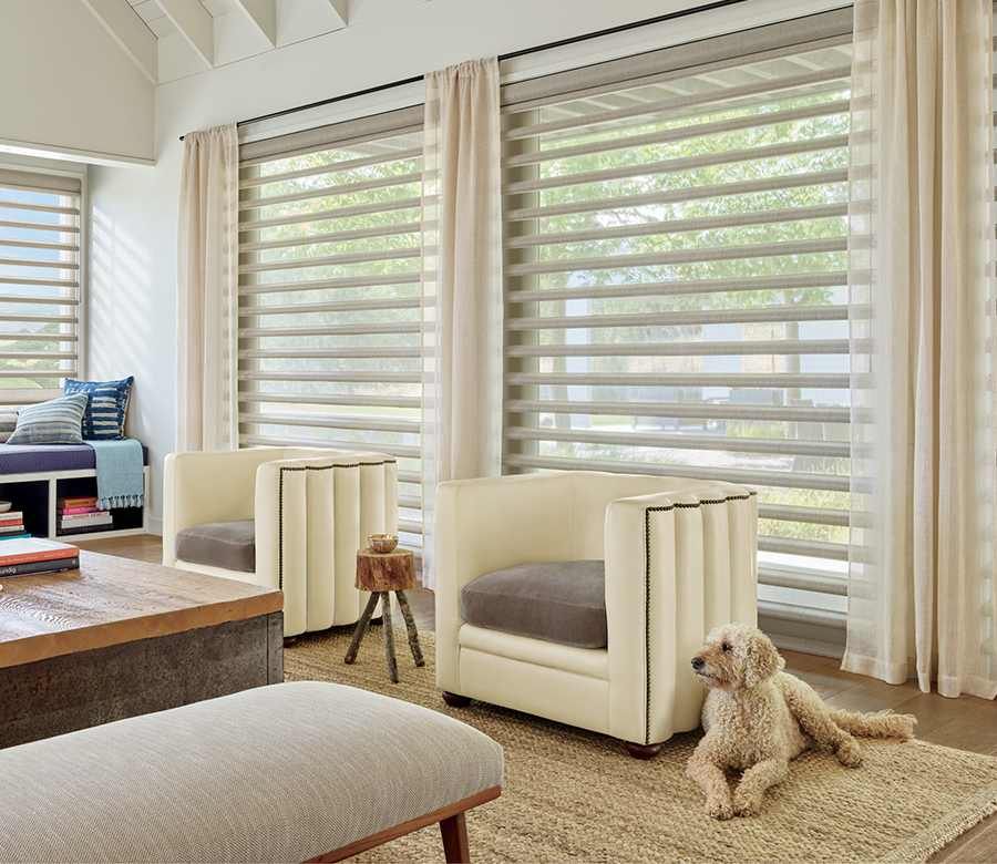living room with pirouette window shades Fort Myers FL
