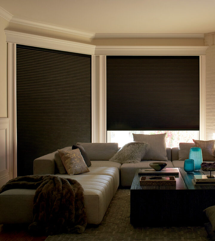 media room with light blocking cellular shades Fort Myers FL