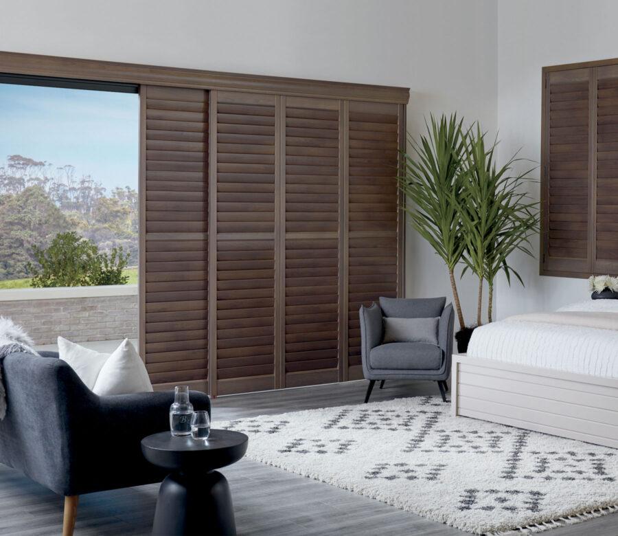 dark wood newstyle hybrid shutters bedroom ft myers florida