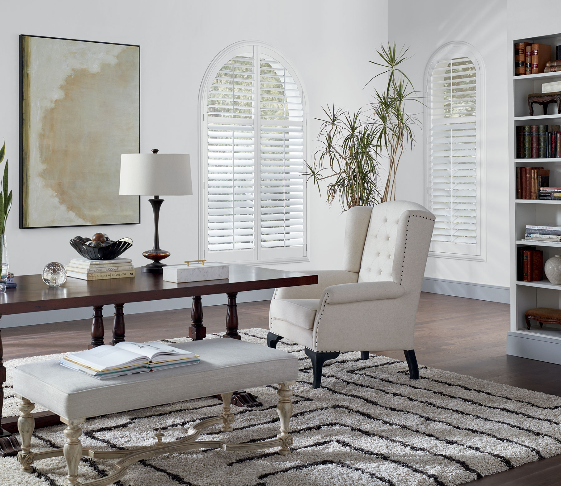 arched window newstyle shutters living room in fort myers florida