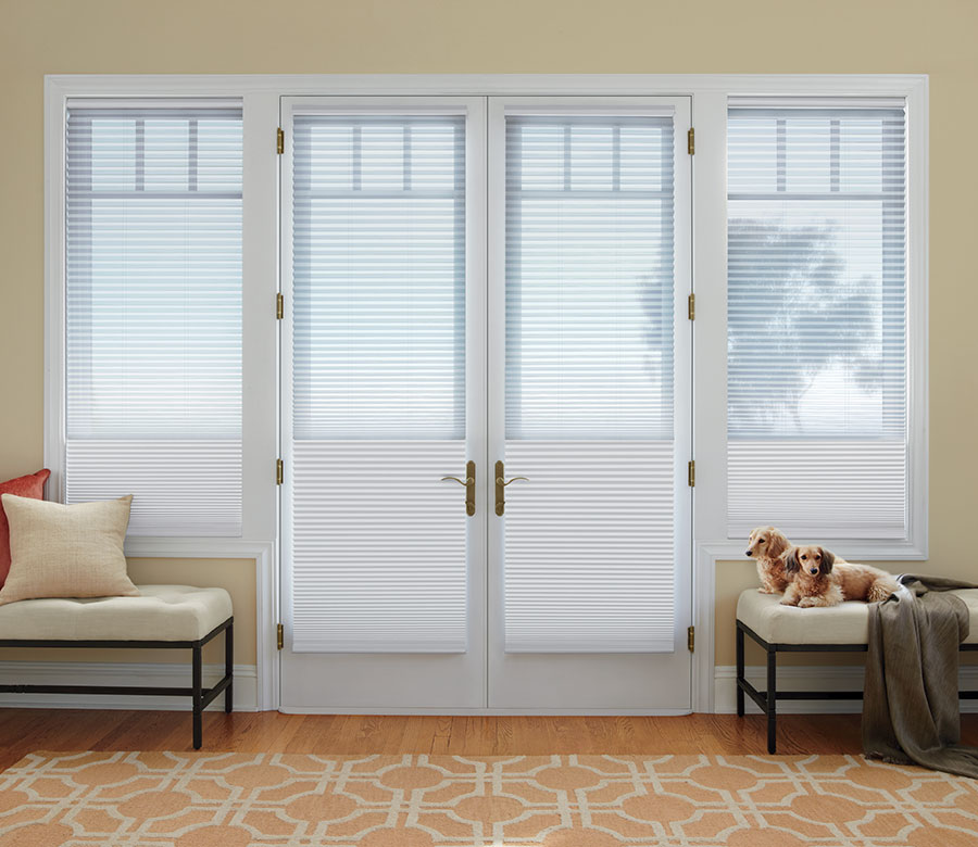 dual window treatments on french doors in Fort Myers FL