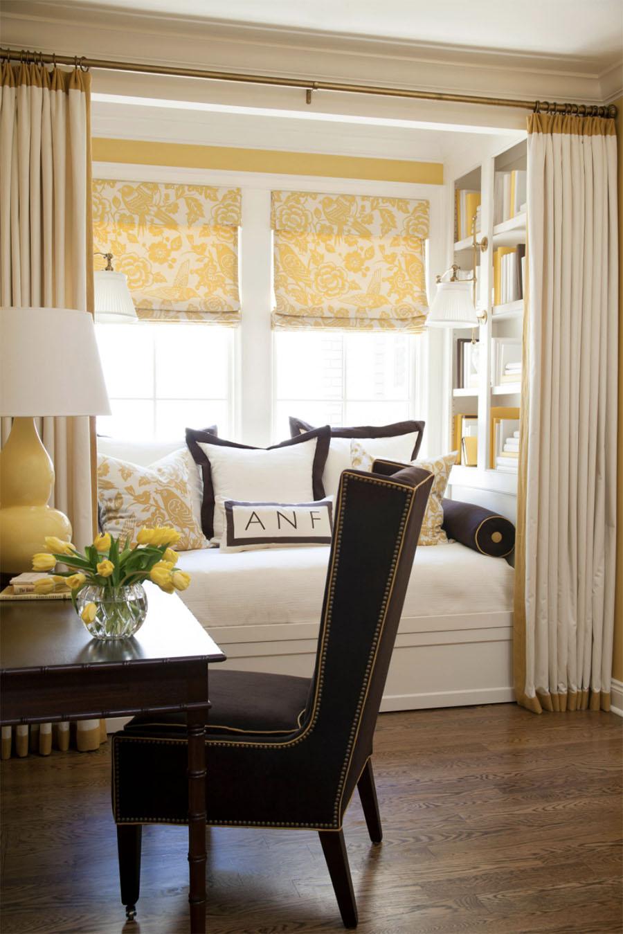 bay window seat small dining area yellow