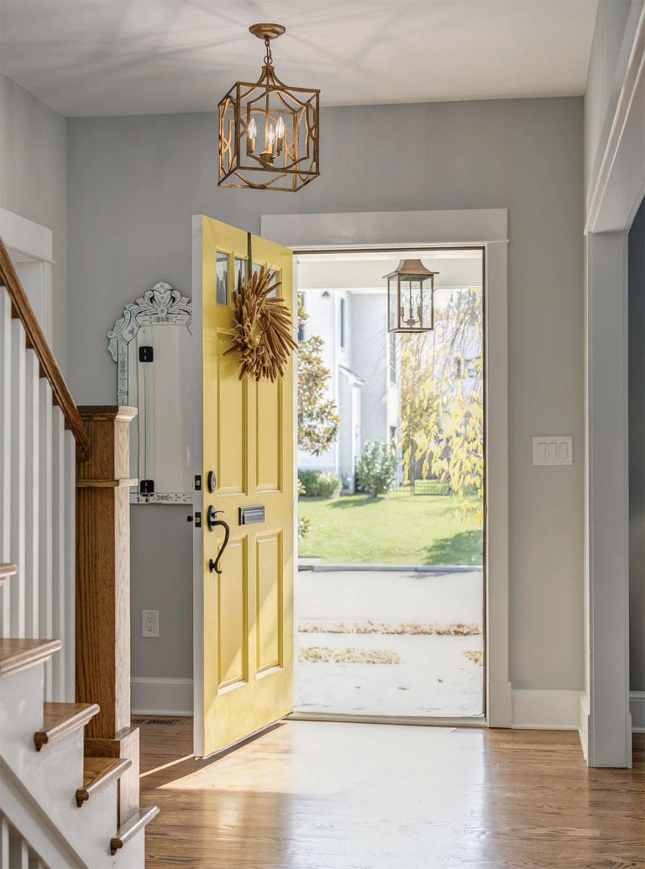 yellow front door add splash of color