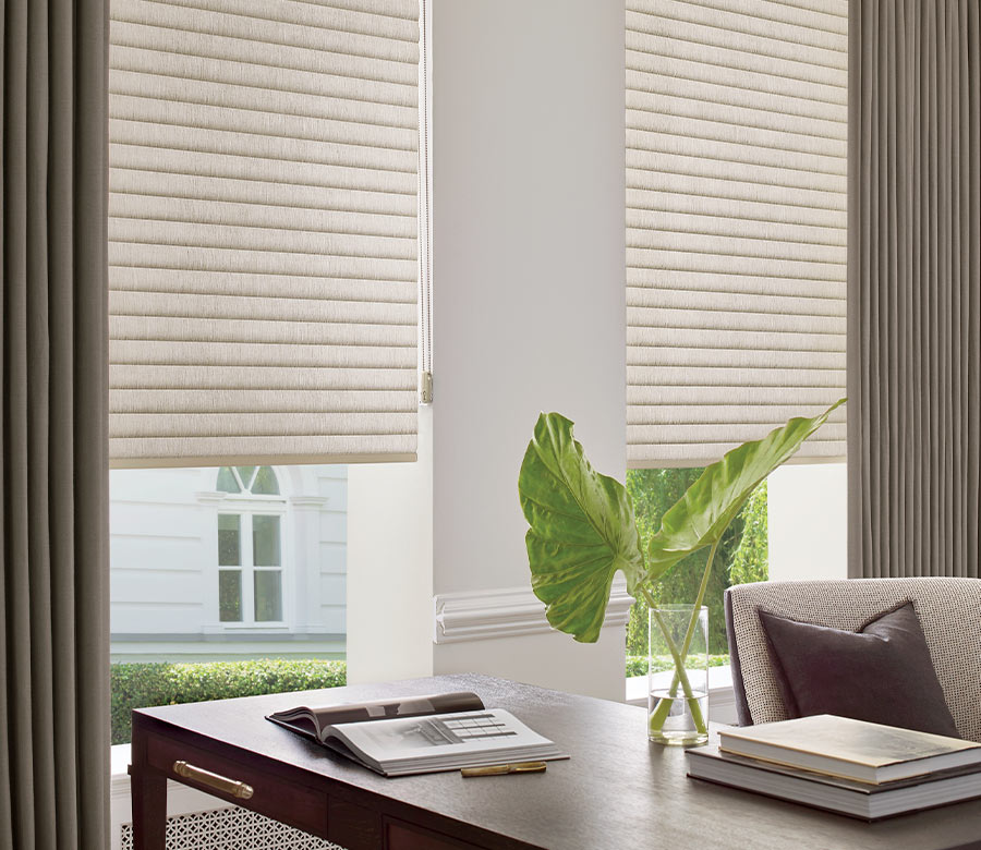 home decor in home office in Fort Myers FL with sonnette cellular roller shades