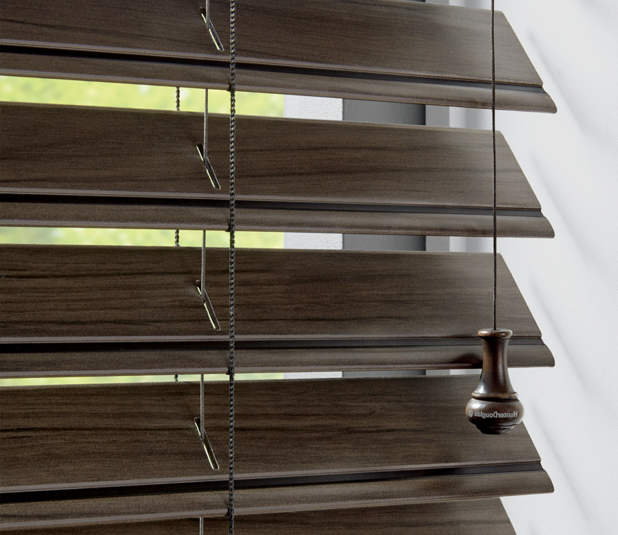 close up of dark faux wood blinds in Ft Myers FL