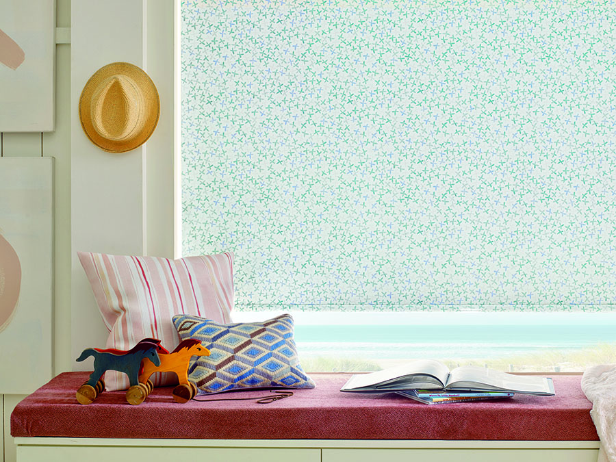 spring refresh patterned roller shade in Naples Home