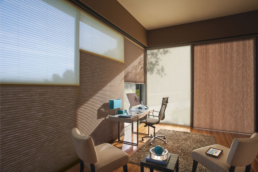 duette honeycomb featured in combination facing home office of fort myers FL home
