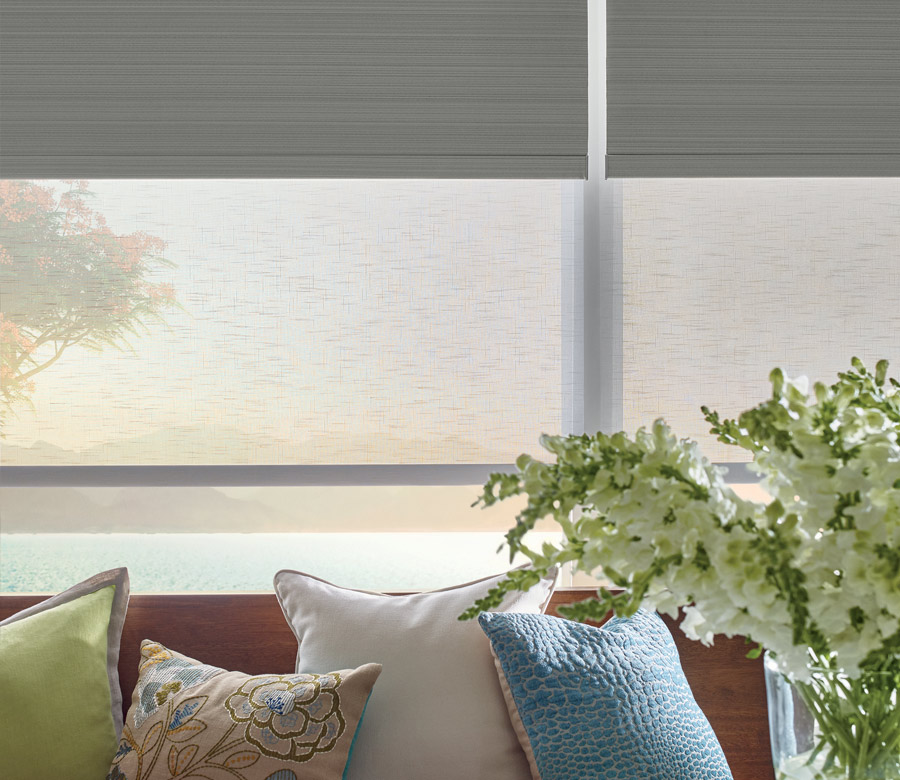 dual shades in living room of Naples FL home
