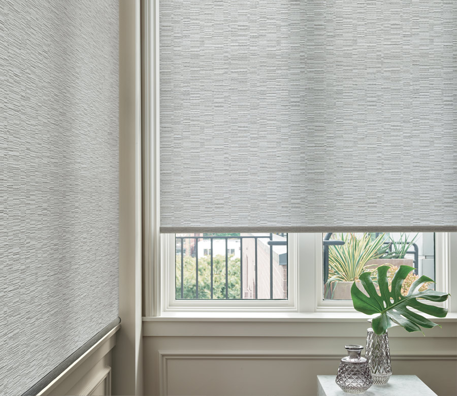 close up gray textured designer shades in Ft Myers home