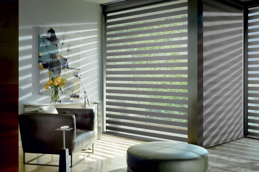 designer banded roller shades floor to ceiling in Fort myers FL home