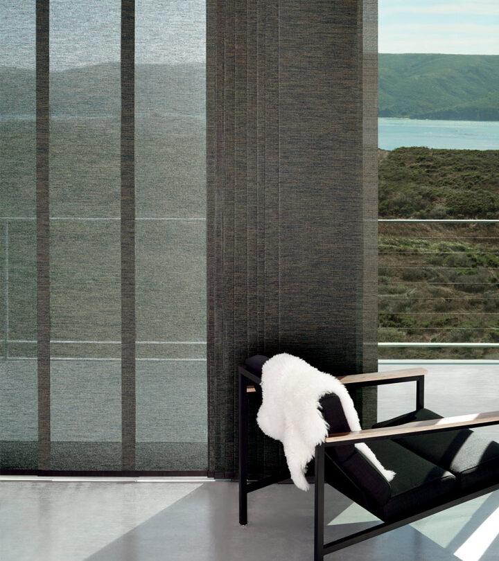 dark gray sliding vertical shades window treatments for sliding glass doors in Fort Myers FL homes
