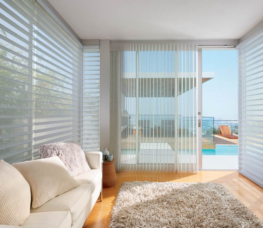 large vertical blinds in living room of naples home