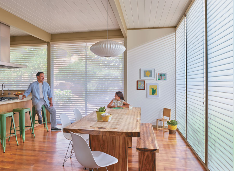Floor to ceiling windows with shades in FT. Myers home