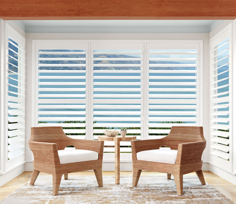 sitting room view with louvers open in Ft. Myers home