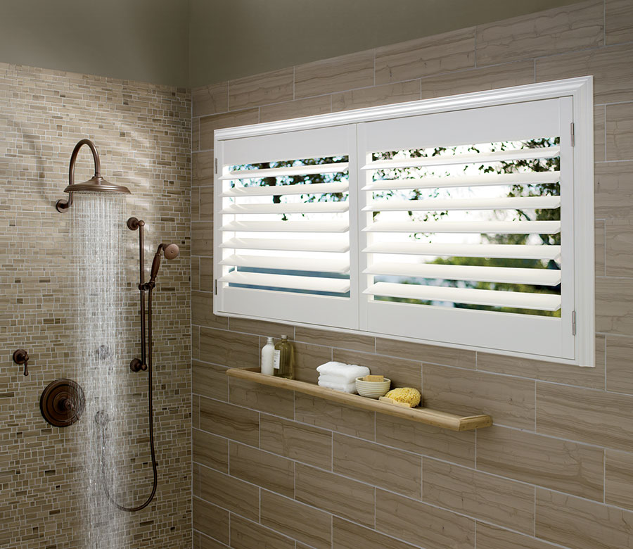 open shutters in shower of Ft Myers home