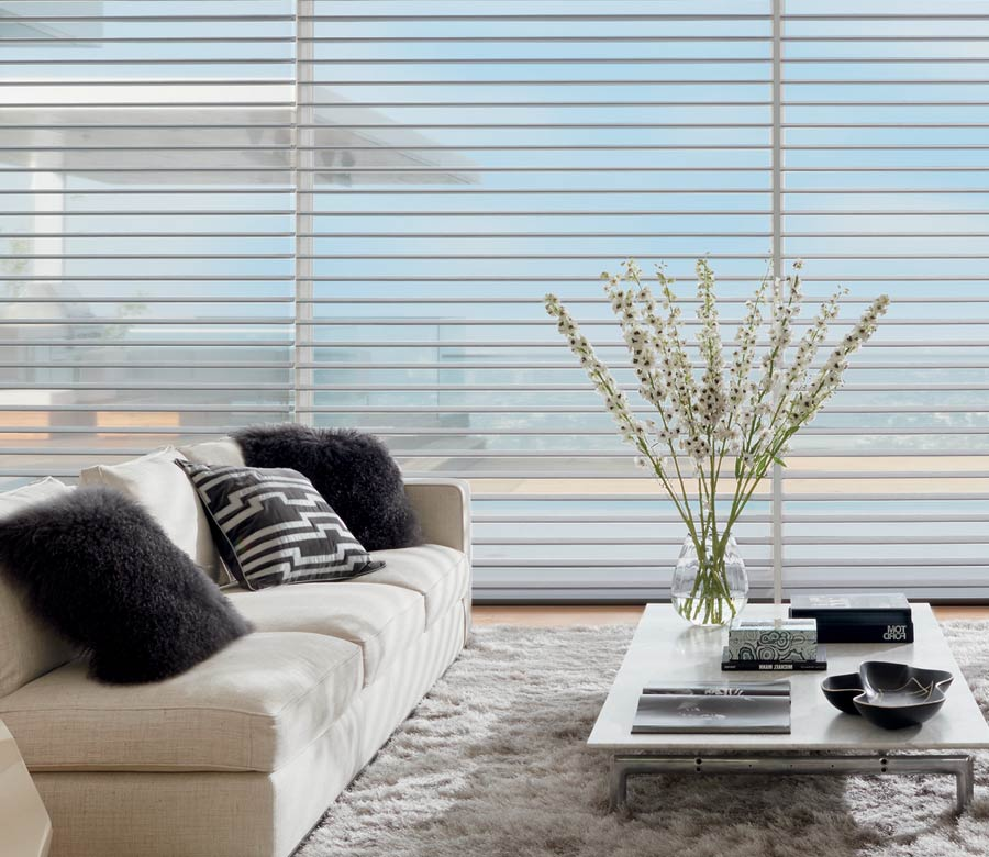 Contemporary Living room with sheer shades in Ft. Myers