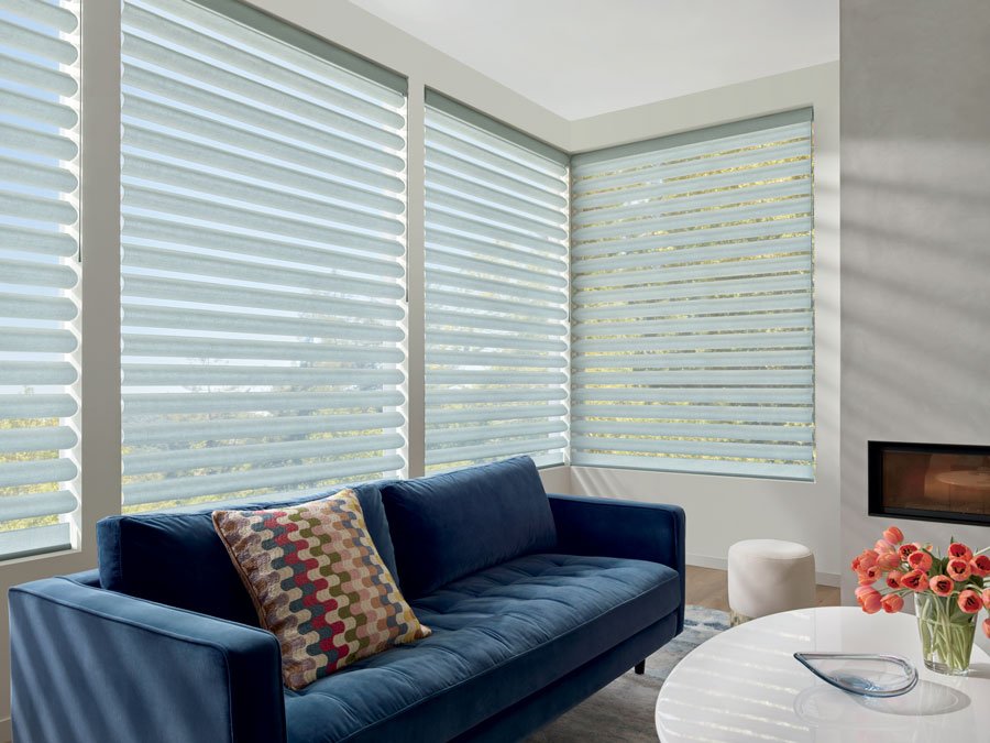tricky Corner window with pirouette shades in naples florida home