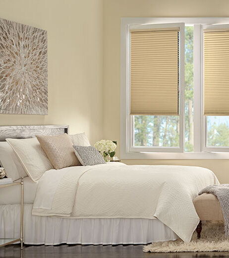 bedroom with tilt turn windows covered with honeycomb shades in Fort Myers FL