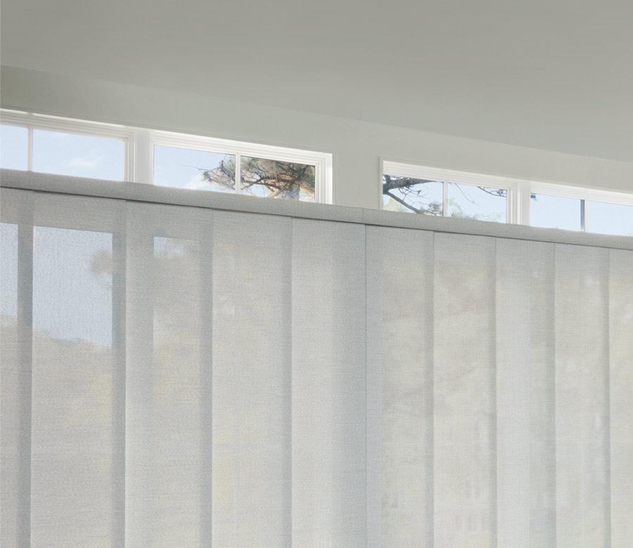 gliding vertical blinds on one headrail for sliding doors in Naples FL