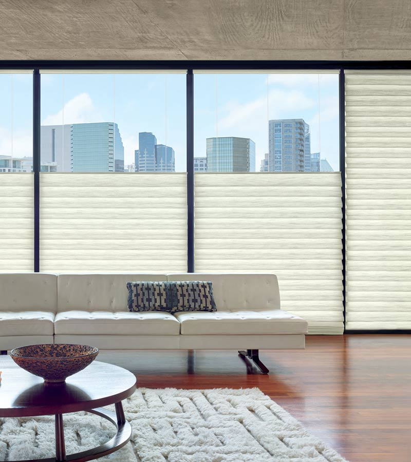 top down roman shades on floor to ceiling windows in Fort Myers FL
