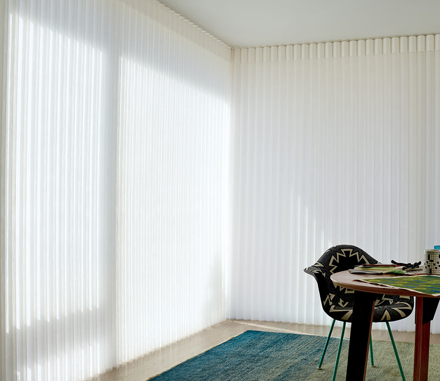 closed opaque privacy sheers in home office