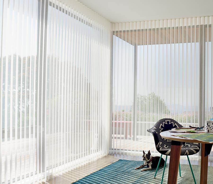 open vertical privacy sheers in home office