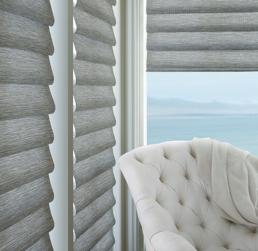gray corner window roman shades in these fabrics elevate any home office