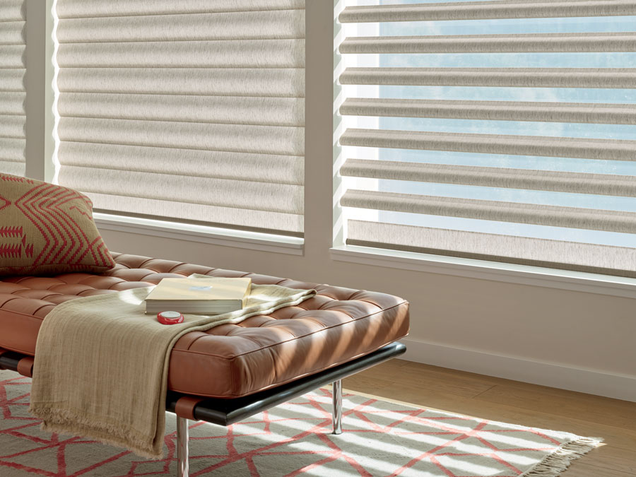 window treatments in two positions from sheer to dark in Fort Myers FL