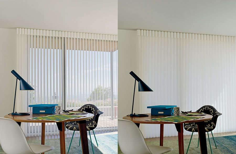 home office with sheer window coverings that change to complete privacy in Naples FL
