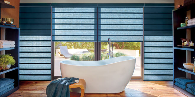 blue bathroom blinds with twp in one shades in Fort Myers FL