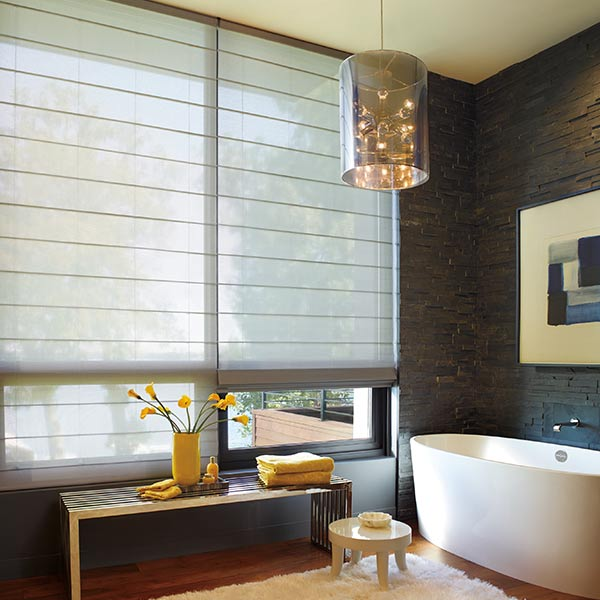 large window solutions in dark modern bathroom