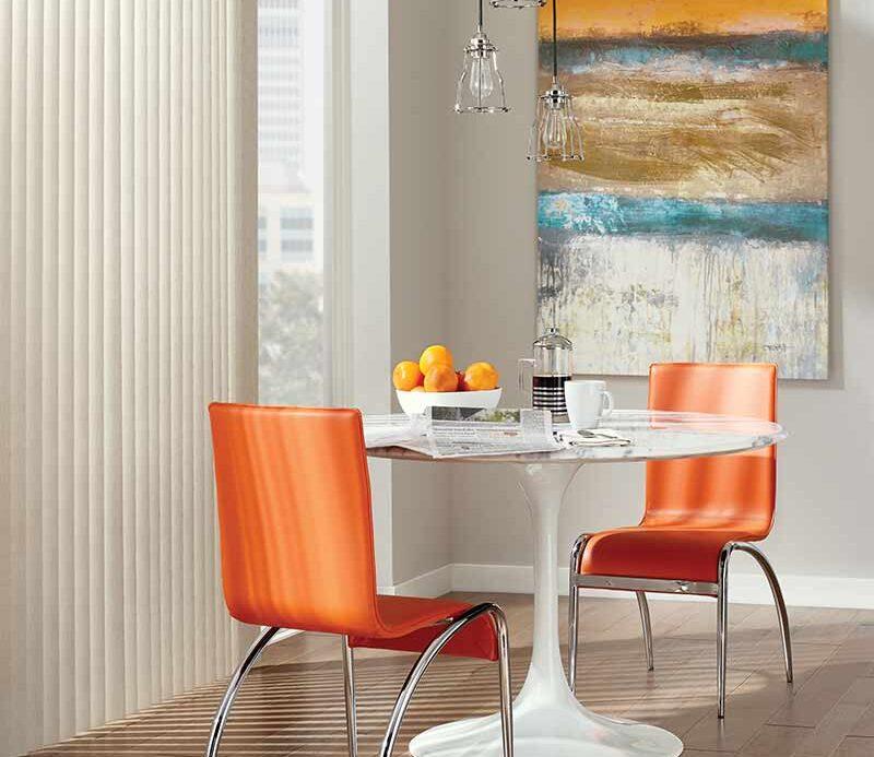 childsafe vertical window shades in modern orange dining room Punta Rassa, FL
